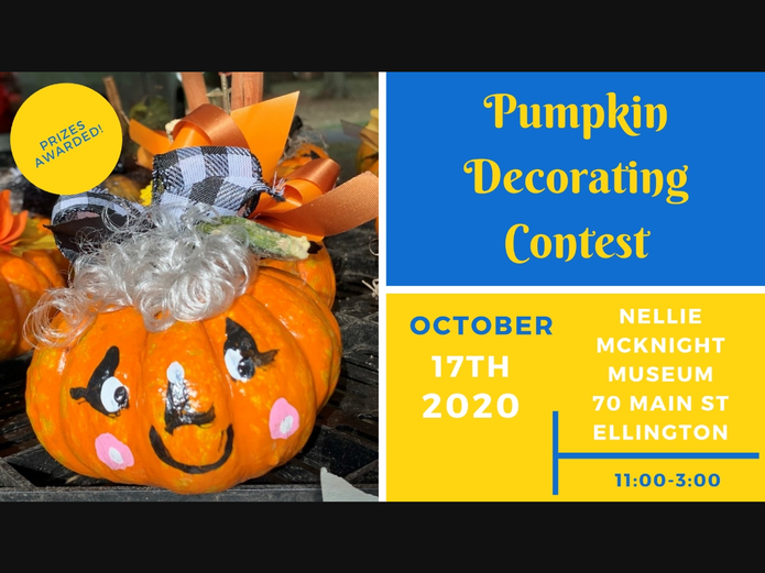 Bring your pumpkins beginning at 9:00 to the Nellie McKnight Museum, 70 Main St.