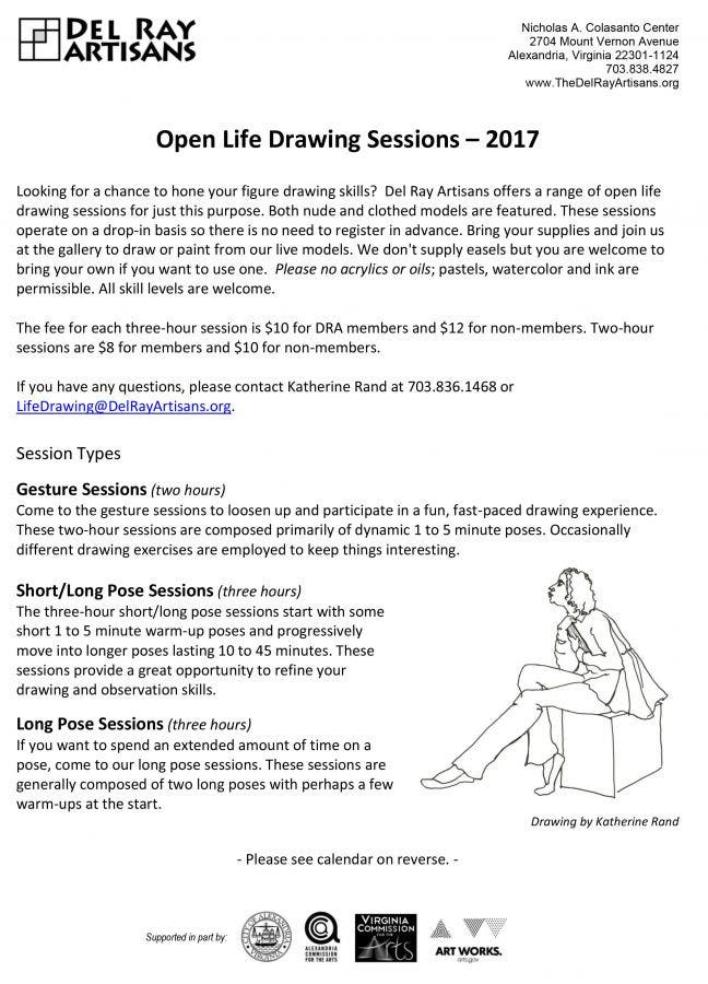 DRA Life Drawing Schedule for 2017: Del Ray Artisans offers a range