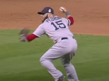 In this freeze-frame of the Fox television broadcast, Dustin Pedroia prepares to fire home in the ninth inning of Game 3 of the 2013 World Series. Without Pedroia's stellar play, the ensuing Keystone Kops ending never materializes.