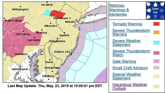Severe Thunderstorm Warning In 3 NJ Counties, 60-MPH Winds