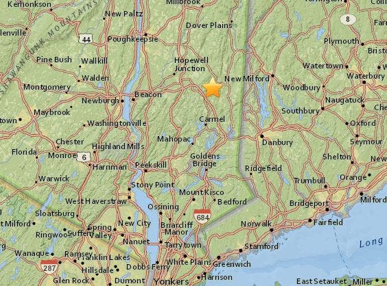 Map Of New York Hudson Valley.Small Earthquake Monday Near Ny Ct Line Mid Hudson Valley Ny Patch