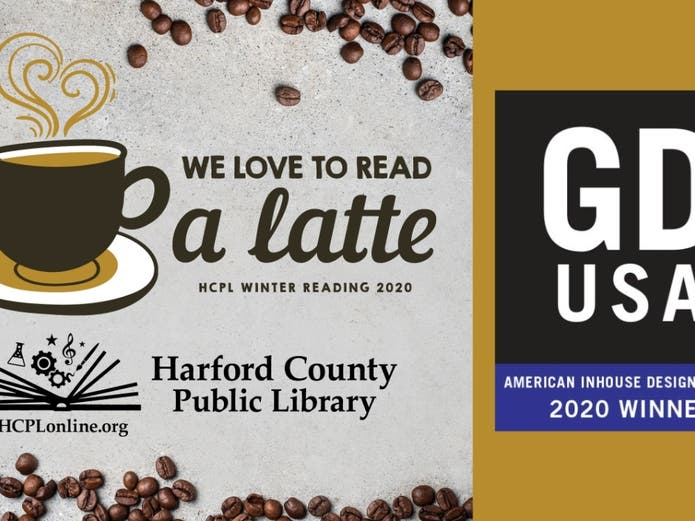 """Harford County Public Library received an Inhouse Design Award for the 2020 Winter Reading Program, """"We Love to Read a Latte."""""""