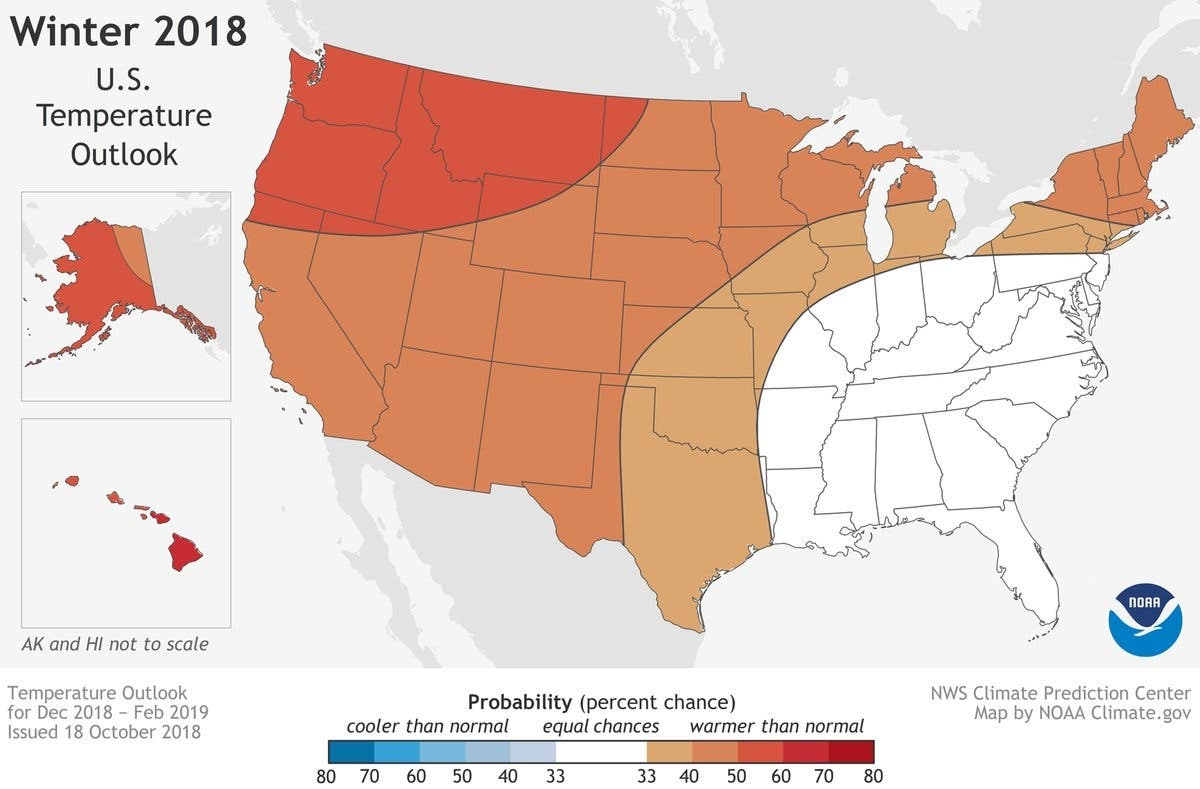 National Weather Service Winter 2019 MD Forecast: Mild, Snowy