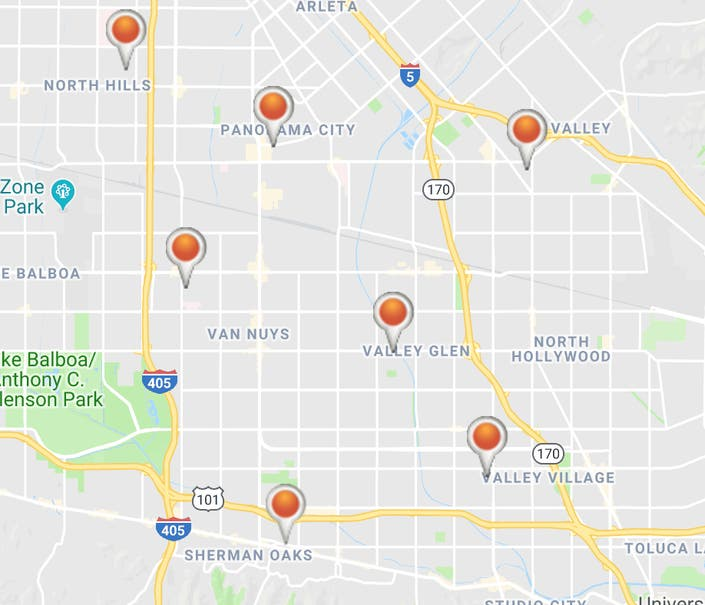 tered Power Outages Leave Sherman Oaks, Panorama City In ... on internet outage map, ladwp outage map, power outage map, dsl outage map,