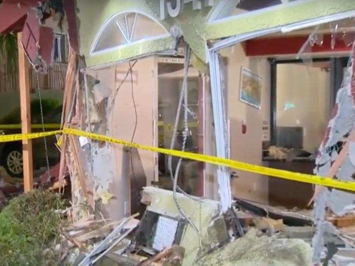 2 Injured When Car Slams Into Sunset Boulevard Motel