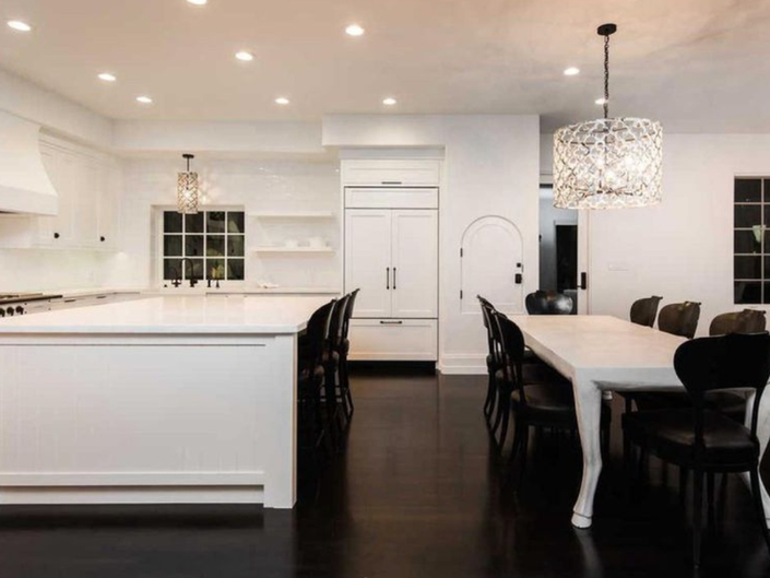Toluca Lake Home Gleems With White Marble Island, Chefs Kitchen