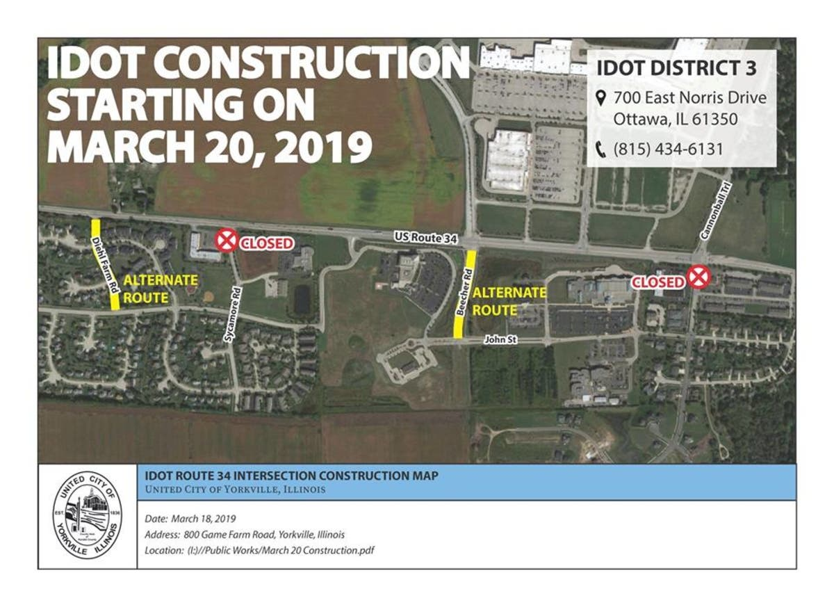 Road Closures Begin For Route 34 Work | Yorkville, IL Patch