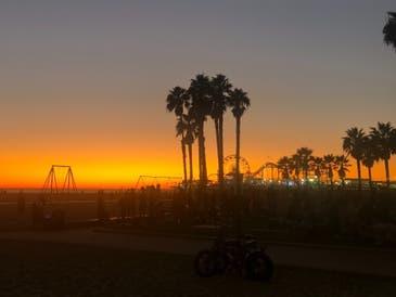 Sunset falls over Santa Monica near the Marvin Braude Bike Trail.