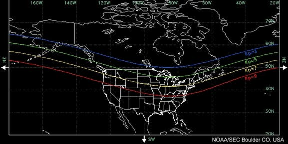 National Oceanic and Atmospheric Administration's Space Weather Prediction Center map