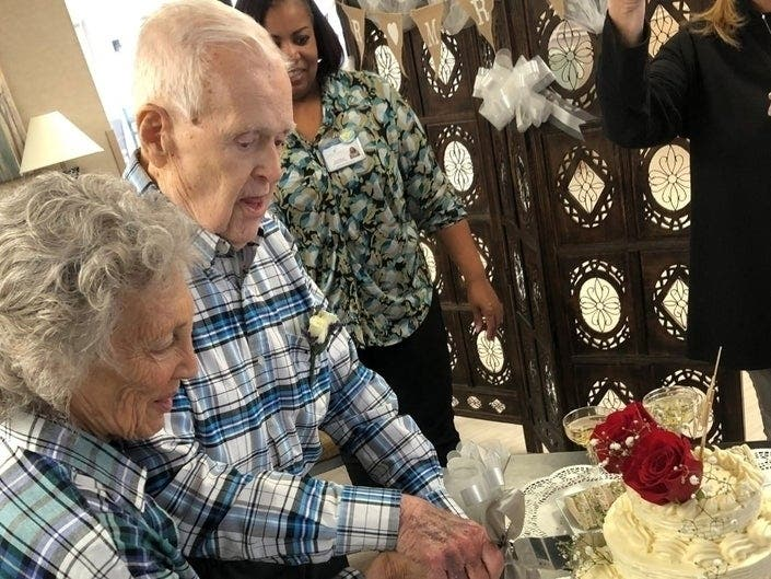 The courtship of Ronnie Freeman and Edgar Smith lasted about 17 years before they decided to tie the knot at their Brick, New Jersey, retirement center.