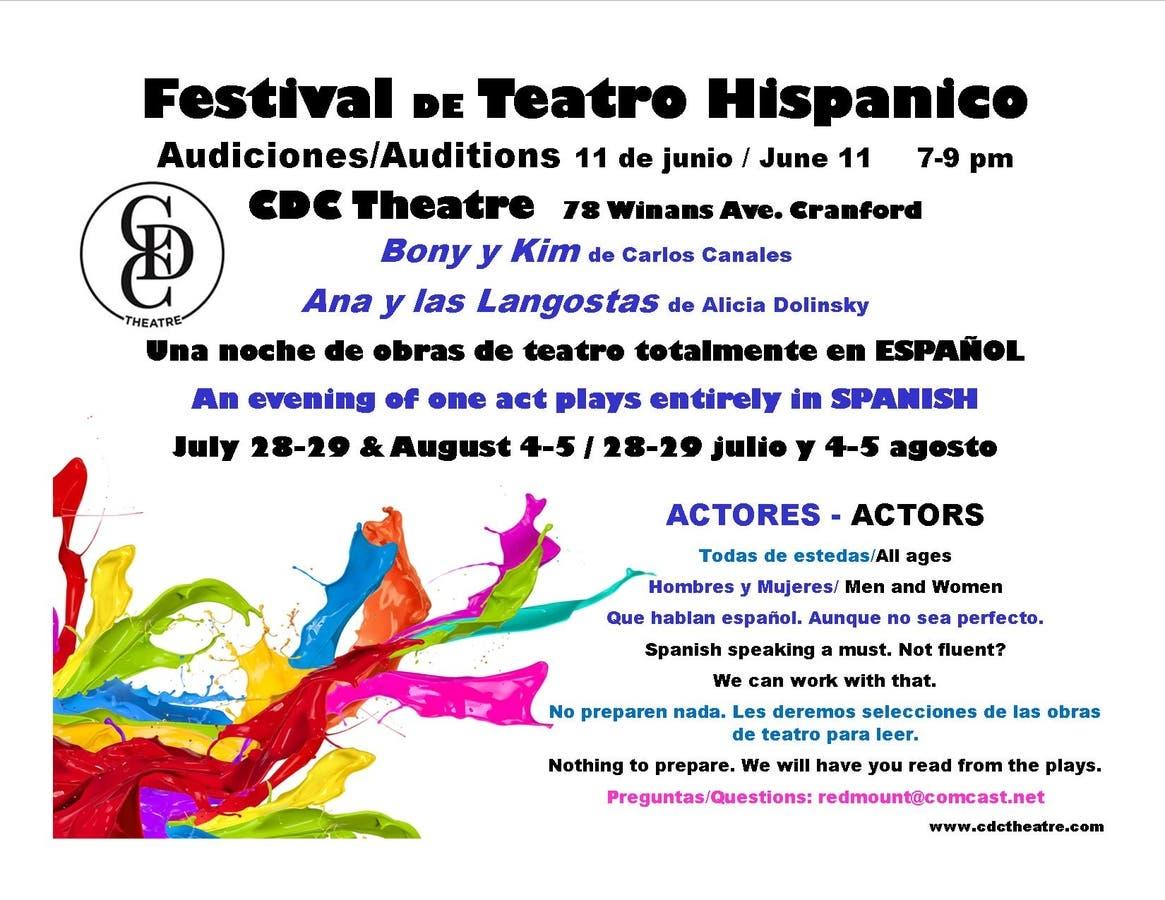 Hispanic Theatre Festival Auditions At CDC Theatre in Cranford