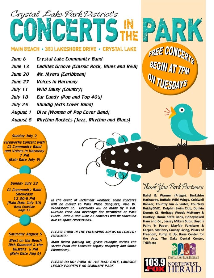 Exciting New Additions To A Jam Packed Crystal Lake Park District Concerts  In The Park Series