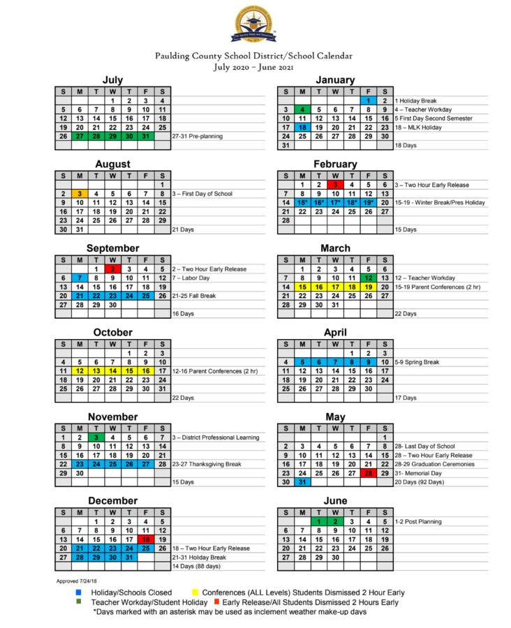Paulding Approves Calendars For 2019 2020, 2020 2021 School Years