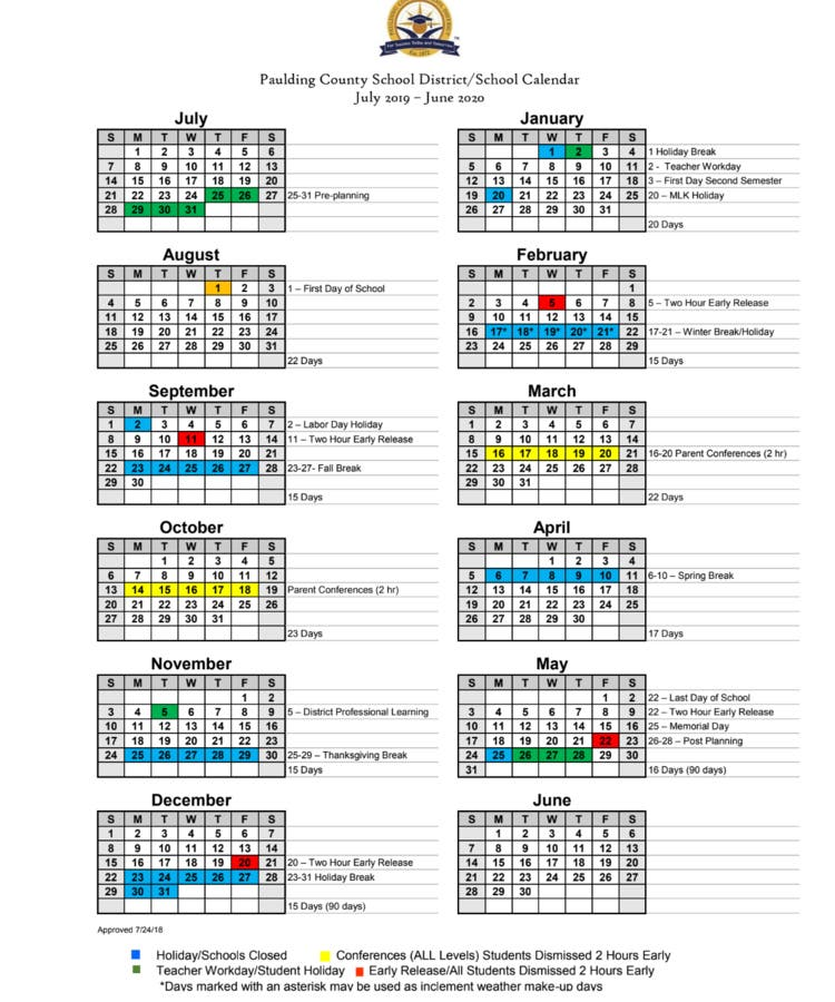 90 Day Calendar.Paulding Approves Calendars For 2019 2020 2020 2021 School Years