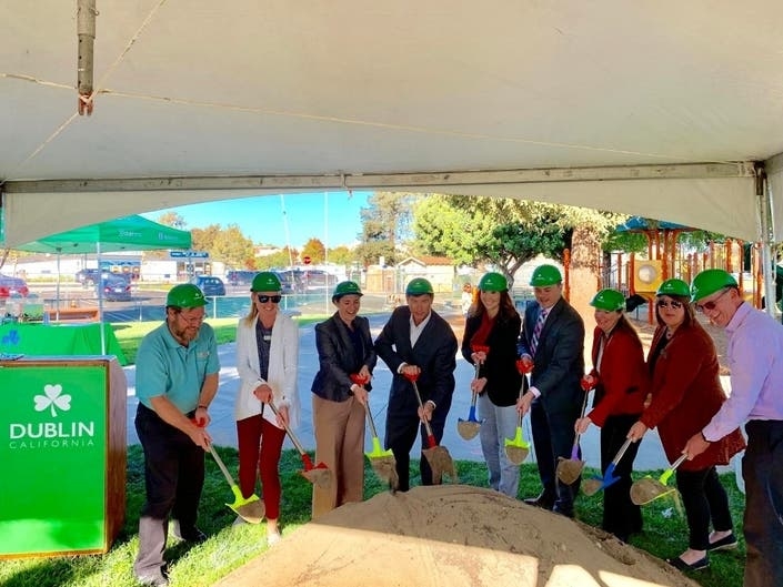 The October 1, 2019 groundbreaking ceremony at Dublin Sports Grounds.