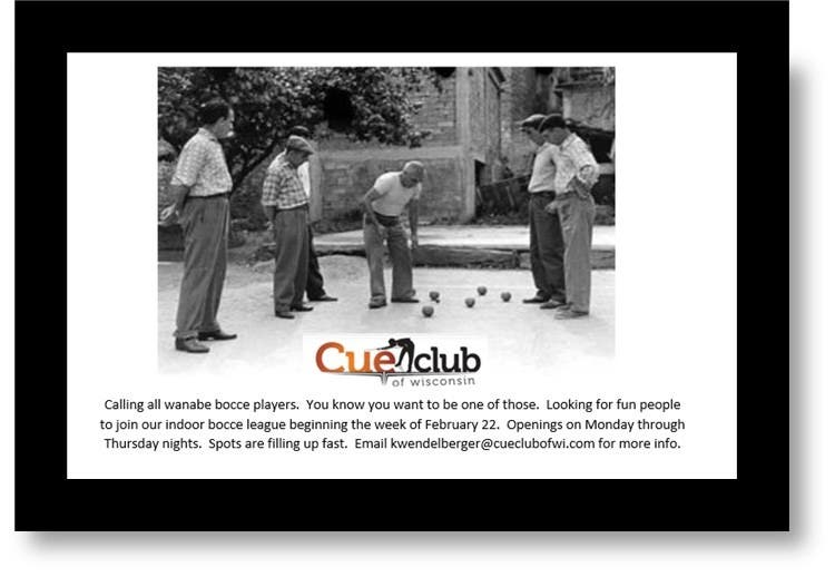 The Cue Club of Wisconsin, 2454 North Grandview Blvd.,...